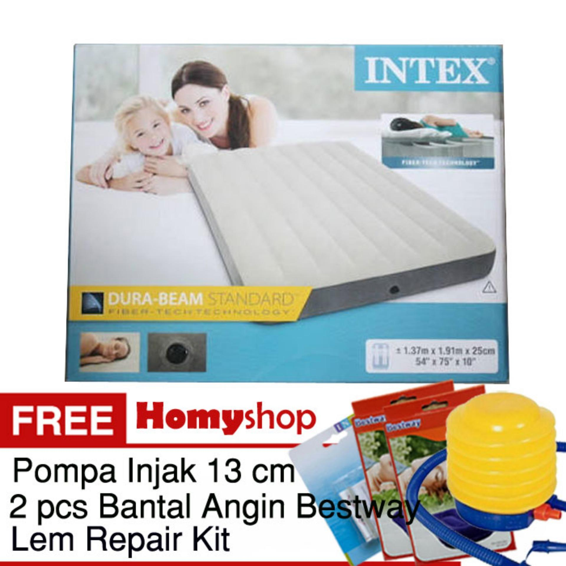 INTEX DuraBeam Double 64708 Kasur Angin / Kasur Udara [137x191x25 cm] Free Pompa Injak Bestway+2 pcs Bantal Kepala Bestway+Lem Repair Kit